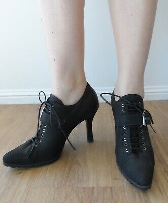 Vintage 90s Sergio Rossi Black Material Leather Lace Up Ankle Boots Heels 39
