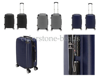 "20"" Expandable ABS Carry On Luggage Travel Bag Trolley Suitcase Black Grey Blue"