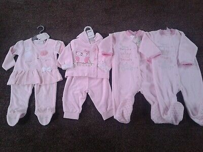 Bundle of baby girls clothes velour fleece size 6-9 months 6-12 months BNWT