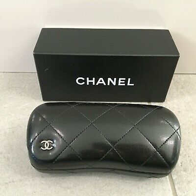 CHANEL Sunglasses / Glasses Case Black Leather Quilted Hard Shell Designer