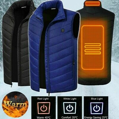 Electric USB Heated Vest Jacket Coat Mens Warm Up Heating Pad Cloth Body Warmer