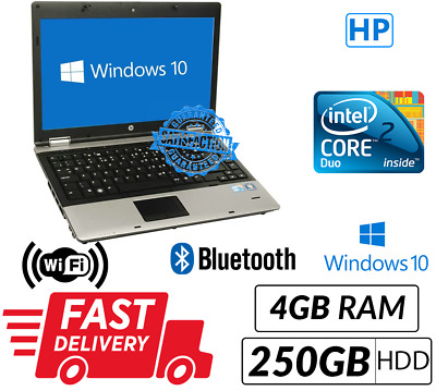 Cheap Windows 10 HP Laptop Intel Core 2 Duo 4GB RAM 250GB HDD UK Fast Delivery