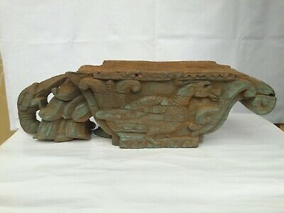 Corbel Pillar Top Wooden Beam Support Architectural Wall Hanging Panel Antique.