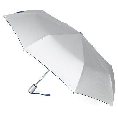 NEW Clifton Silver Coated Navy Windproof Auto Open Umbrella