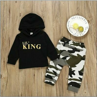 "Infant Newborn Baby Boys Clothes Hooded ""KING"" T-shirt Tops+ Long Pants 2Pcs Set"