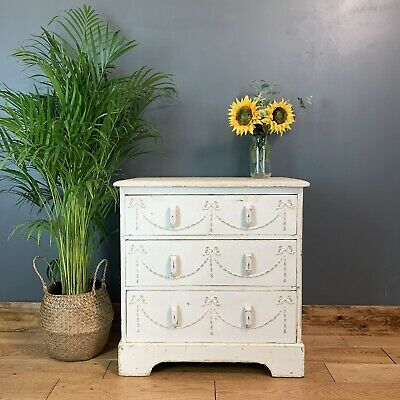 Vintage Chest Of Drawers Shabby Chic Sideboard Cabinet Painted Bedroom Off White