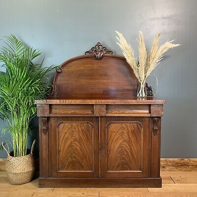 Antique Sideboard Buffet Server Chiffonier Flame Mahogany Cabinet Cupboard