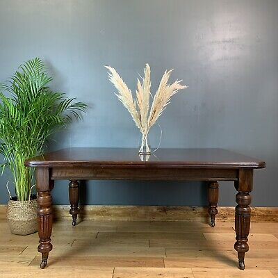 Antique Large mahogany table Victorian Extending Wind-out Dining