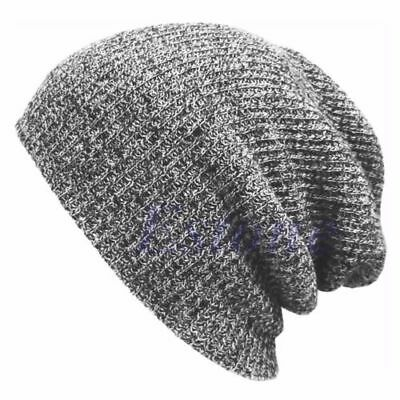 Womens Mens Winter Knitted Beanie Baggy Caps Slouchy Oversized Stripe Warm
