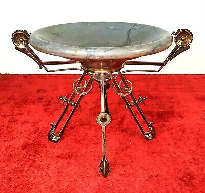 Modernist Table Center. Chiseled Silver. Marble. Spain. Xix Century