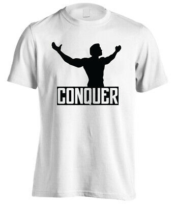 Conquer Arnold Schwarzenegger Bodybuilding Gym Motivation Mens Fitness T-shirt