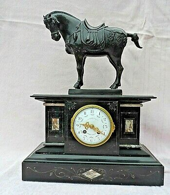 French Bell Strike Slate Mantel Clock With Cast Metal Horse & Marble Inlay Gwo