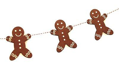 Wooden Gingerbread Man Bunting for Christmas Party Decoration