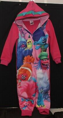 Girl's Official Dreamworks TROLLS Fleece Hooded All in One / PJs  5-10 years