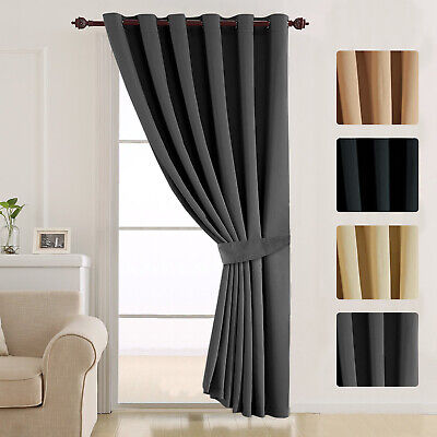 Insulated Thermal Blackout Eyelet Ring Top Ready Made Thick Door Curtains Panel