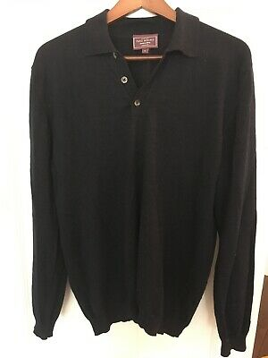 Mens' John Lewis Pure Merino Wool Button Neck Jumper Xl Navy Blue