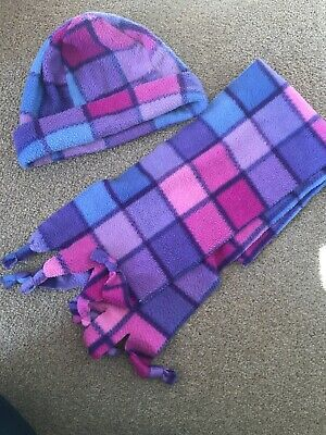 Lovely Girls Pink, Purple & Blue Checked Scarf & Hat Set 5-7 Yeats
