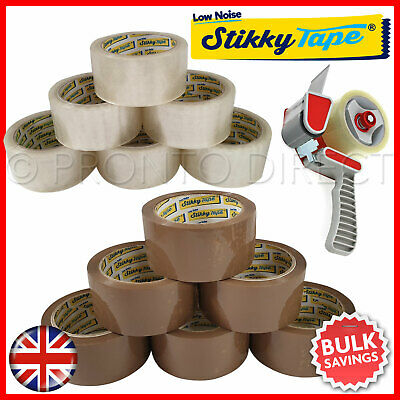 LOW NOISE PARCEL PACKING TAPE BROWN CLEAR 48mm x 66M PREMIUM STIKKY TAPE