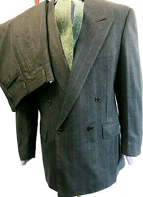 CORNELIANI Mens Suit GRAY STRIPE WOOL CASHMERE 40R Double Breasted MADE IN ITALY