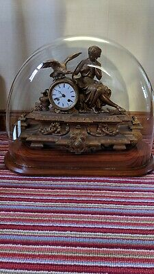 Antique Clock In Glass Display Dome