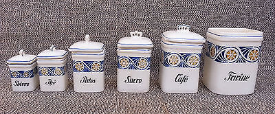 Set of 6 Antique Pots Cooking Vintage Coffee Sugar Tea French Antique Potery