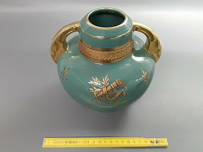 Antique Very Nice Vase Ceramic Green and Golden Deco Flowers Fins French Antique