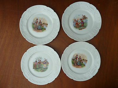 Lot of 4 Antique Plates Ceramic Decor Character Games Child Mill