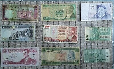 Middle East banknotes collection x9