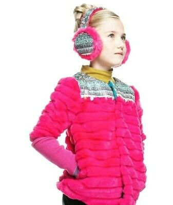 Girls Stunning Pink Faux Fur Jacket With Matching Ear Muffs Bnwt - Age 10