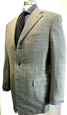PAL ZILERI Mens Sport Coat Blazer MADE IN ITALY 40R Gray Check 3 BUTTON Wool