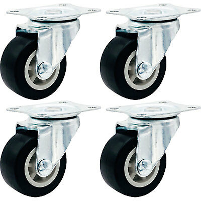 "4 Pack 1.5"" Low Profile Casters Wheels Soft Rubber Swivel Caster BLACK"