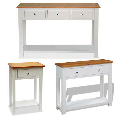 Console Table 1/2/3 Drawer Shelf Solid Oak Wood End Side Hall Table Storage Unit