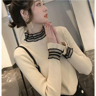 Winter Women Ladies Lace Mock Neck Knit Sweater Pullover Jumper Blouse Basic Top