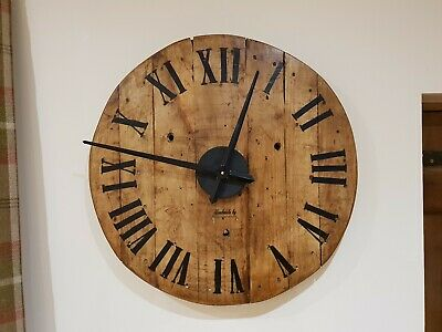 Industrial Wooden Cable Drum Wall Clock, Vintage, Rustic, Wax Polished