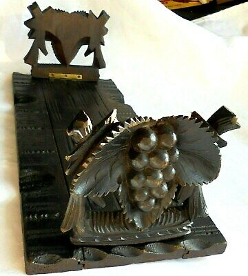 Very Rare Carved Wooden Black Forest Sliding Folding Book Shelf. Good Condition.