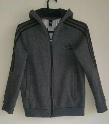 Adidas girls jacket hooded tracksuit top grey black 11-12 years hardly worn