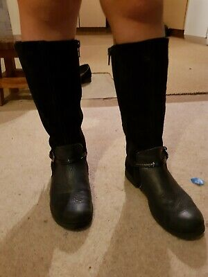 Girls Navy Suede Knee High Boots Uk 12.5 Gorgeous