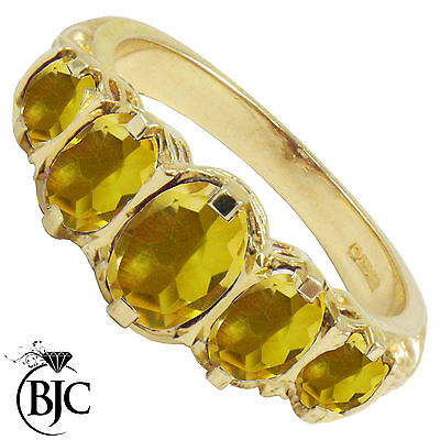 BJC® 9ct Yellow Gold Victorian / Gypsy Style Graduating Citrine 5 Stone Ring