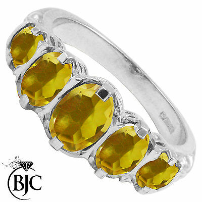 BJC® 9ct White Gold Victorian / Gypsy Style Graduating Citrine 5 Stone Ring