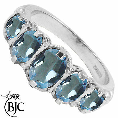 BJC® 9ct White Gold Victorian / Gypsy Style Graduating Blue Topaz 5 Stone Ring
