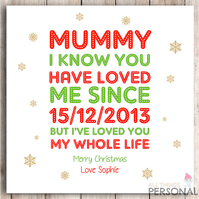 Personalised Christmas Card for Mum Mummy from Son Daughter Cute Quote Poem