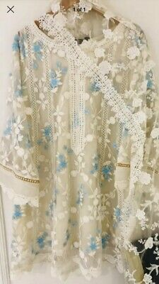 Agha Noor - Net Three Piece w Tulip Trouser and intricate blue embroidery   L