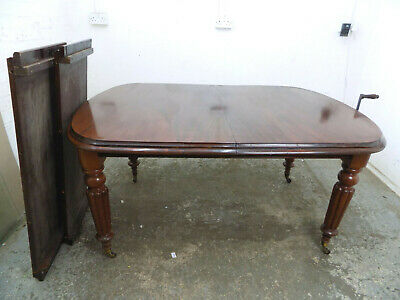 antique,victorian,mahogany,extending,wind out,dining table,fluted legs,table,10