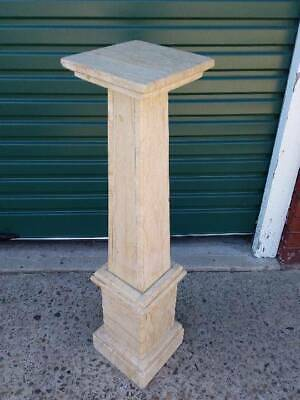 Antique French Smoky Cream Marble Stand/Pedestal Double Stepped Base