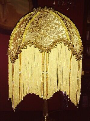 """Mandalay,Victorian,Downton Beaded Lampshade Exquisite Gold Chenille Brocade 16""""."""