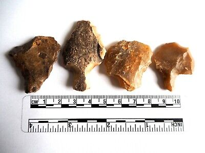 Paleolithic Arrowheads x 4 - Genuine Saharan Flint Artifacts - 70,000BC (2601)