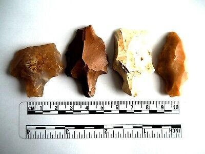 Paleolithic Arrowheads x 4 - Genuine Saharan Flint Artifacts - 70,000BC (2607)