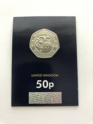 2019 WALLACE AND GROMIT 50p Coin ~ 30TH ANNIVERSARY BU 50p Carded Coin