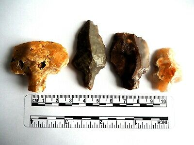 Paleolithic Arrowheads x 4 - Genuine Saharan Flint Artifacts - 70,000BC (2624)