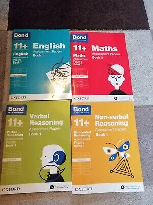 Bond 11+ Plus 9-10 Year Assessment Papers 4 books English Maths Non Verbal & Ver